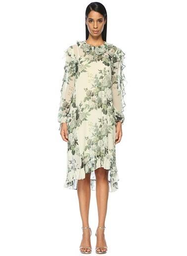 Volanlı Çiçekli Midi Elbise-Robert Rodriguez
